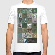 Google Maps Alphabet White SMALL Mens Fitted Tee