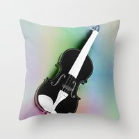 violin Throw Pillows featuring Violin by Christine baessler
