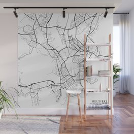Helsinki Map, Finland - Black and White Wall Mural