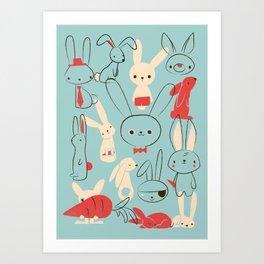 Bunnies (blue) Art Print