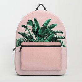 Turquoise Banana and palm Leaves Backpack