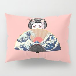Portrait of japanese geisha woman with traditional fan design Pillow Sham