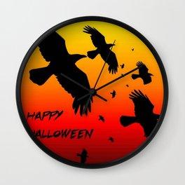 Happy Halloween Murder of Crows  Wall Clock
