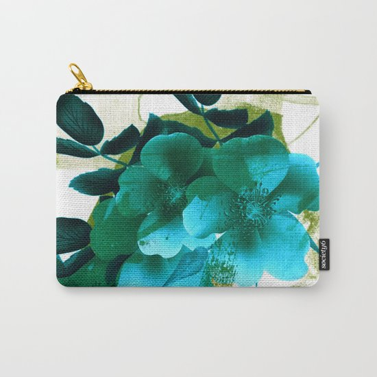 blue flowers and green abstract Carry-All Pouch