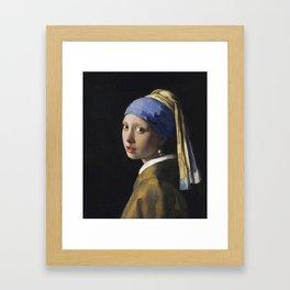 Johannes Vermeer - The girl with a pearl earring Framed Art Print