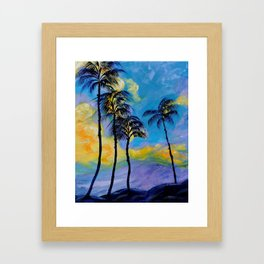 Moon over Palm Trees Framed Art Print