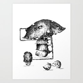 Funy Mushroom Mother Breastfeeding Her Newborn Daughter After Exiting The Egg Grphc Art Print