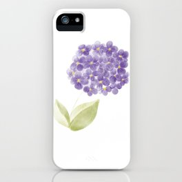 Illustration - Watercolor violet hydrangea flower. iPhone Case