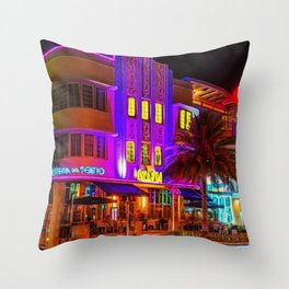 Marlin Hotel, South Beach Miami Florida Landscape Painting by Jeanpaul Ferro Throw Pillow