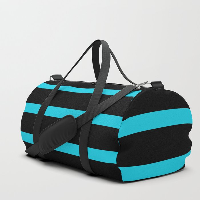 aa61a36f4 Hollywood Nights Black and Teal Stripes Duffle Bag by leahmcphail ...