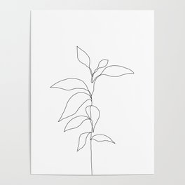 Single line plant drawing - Danya Poster