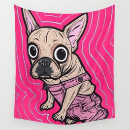 French Bulldog Pink Overalls Wall Tapestry