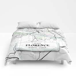 Florence, Italy City Map with GPS Coordinates Comforters