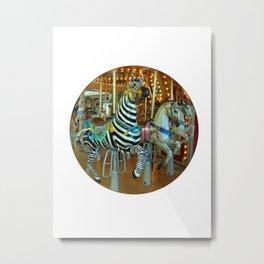 Zebra Go Round Metal Print