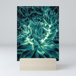 closeup green succulent plant texture background Mini Art Print