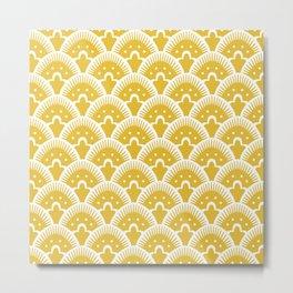 Fan Pattern Mustard Yellow 201 Metal Print
