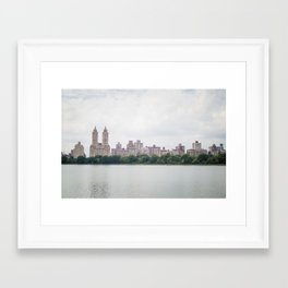 Monochromatic - New York City Central Park, Architecture Landscape, Cloudy City Skyline Photography Framed Art Print
