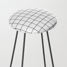 Grid Simple Line White Minimalist Counter Stool