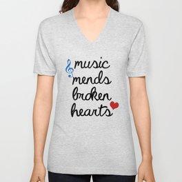 Music Mends Broken Hearts Unisex V-Neck