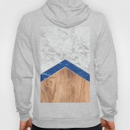 Arrows - White Marble, Blue Granite & Wood #436 Hoody