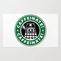 dalek Area & Throw Rugs featuring Dalek Caffeinate by KittenKirby