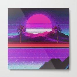 80s Sunset Retro Pixel Art Metal Print