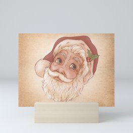 Holly Jolly Santa Claus Head - Vintage Christmas Illustration  Mini Art Print