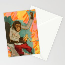 """Primitive Neurological Circuitry (Chimp on Toilet)"" Stationery Cards"