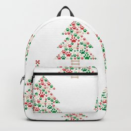 Made of paw print Christmas tree. Christmas and Happy new year seamless fabric design pattern white background Backpack