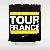 tour de france Shower Curtains featuring Tour de France by Pedlin
