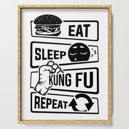 Eat Sleep Kung Fu Repeat - Martial Art Defense Serving Tray