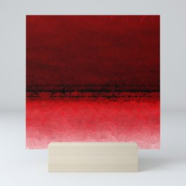 Deep Ruby Red Ombre with Geometrical Patterns Mini Art Print