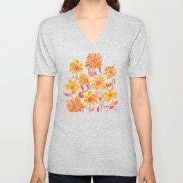 Sunflower Watercolor – Fiery Palette Unisex V-Neck