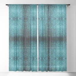 Beautiful Aqua blue glitter sparkles Sheer Curtain