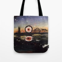 boardwalk empire Tote Bags featuring Boardwalk by Leon T. Arrieta
