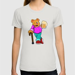 Bear with Glass of Beer & Walkingstick T-shirt