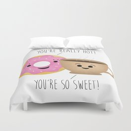 Donut and Coffee  |  Really Hot and So Sweet Duvet Cover
