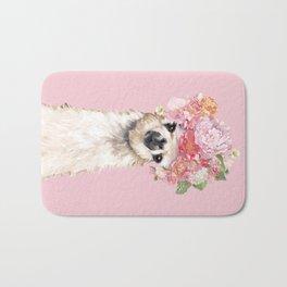 Llama with Flower Crown in Pink Bath Mat