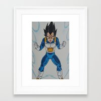 vegeta Framed Art Prints featuring Prince Vegeta by bmeow
