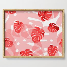 red monstera Serving Tray