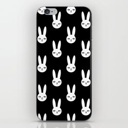 Bunny Rabbit black and white spring cute character illustration nursery kids minimal floral crown iPhone Skin