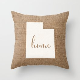 Utah is Home - White on Burlap Throw Pillow