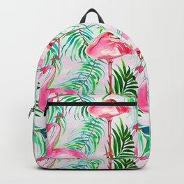 Pink forest green tropical flamingo watercolor floral Backpack