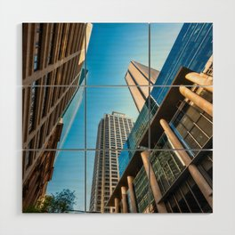 Low angle view perspective on Pitt Street in Sydney Wood Wall Art