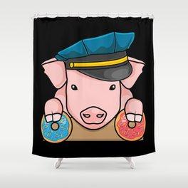 Pig Cop Donut Dougnut Policer Officer Fun Gift Shower Curtain