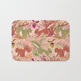 Squirrel in Woodland Fern Forest , Cute Squirrels Love hidden among the Acorn Nuts & Plants Bath Mat