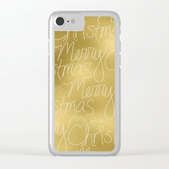 Merry christmas- christmas typography on gold pattern Clear iPhone Case