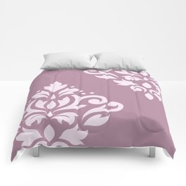 Scroll Damask Art I Pink on Mauve Comforters