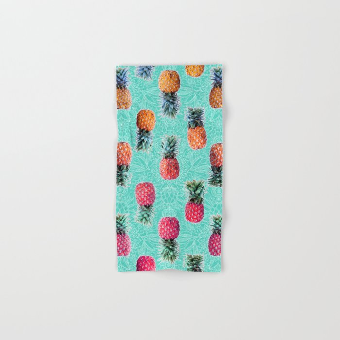 From Pineapple to Pink - tropical doodle pattern on mint Hand & Bath Towel