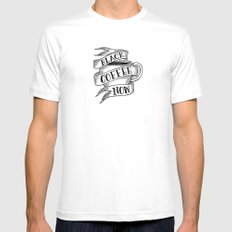 black coffee now White Mens Fitted Tee MEDIUM